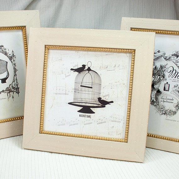 8x8 or 7x7 inch Warm White Frame with Inner Gold Boule | Etsy