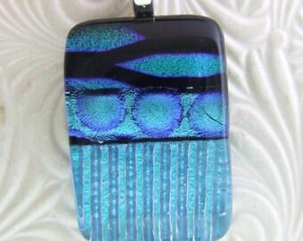 Aqua Marquis Dichroic Pendant, Handmade Fused Glass Jewelry from North Carolina