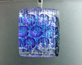 Denim Sparkle Dichroic Pendant, Handmade Fused Glass Jewelry from North Carolina