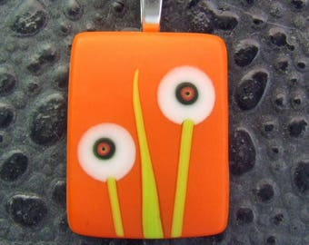 Orange Bitty Bloom Pendant, Fused Glass Jewelry from North Carolina