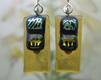 Sungold Dichroic Glass Earrings, Fused Glass Jewelry Handmade in North Carolina