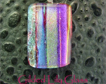 Red Sizzle Dichroic Glass Pendant, Handmade Fused Glass Jewelry from North Carolina