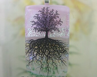 Cherry Blossom Tree of Life Glass Pendant- Handmade Fused Glass Jewelry from North Carolina