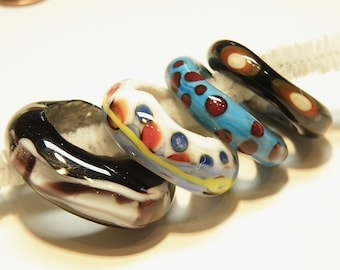 Four (4) Jumbo Lampwork Glass Ring Beads: Assorted Colors -- Lot 3W
