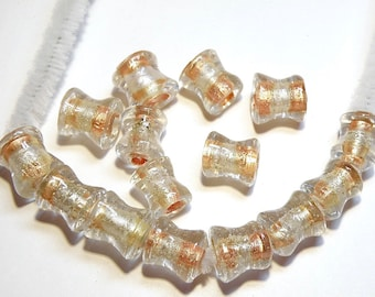 DESTASH -- 15 Large Hole Lampwork Glass Spool Beads with Silver Foil and Peachy Copper Bands - Lot 3S
