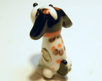 Black, Brown and White Lampwork Glass Beagle Puppy Dog Bead with Large Hole --- Lot 4J