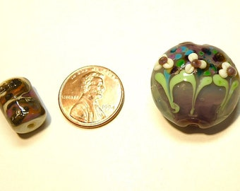 Two (2) Coordinating Lampwork Beads: Opaline Mauve, Green, Ivory with Flowers  -- Lot 3U