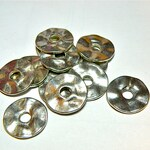 12 Pewter Silver Wavy Flat Spacer Bead Disks -- SMALLER SIZE
