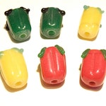 30% OFF --- 6 Lampwork Bell Pepper Beads: Red, Yellow, and Green