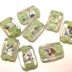 70% OFF --- Eight (8) Lampwork Glass Pillow Beads - Celadon Green with Silver Foil and Multicolor Jewel Tone Blobs NOS - Lot MM