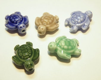 Five (5) --Khaki and Shades of Green and Blue Ceramic Sea Turtle Beads  --- Lot 4R