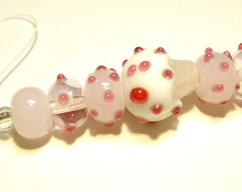 Seven (7) Coordinating Lampwork Beads: Bubble Gum Pink, Dark Raspberry and White Cupcake Set - Lot UU