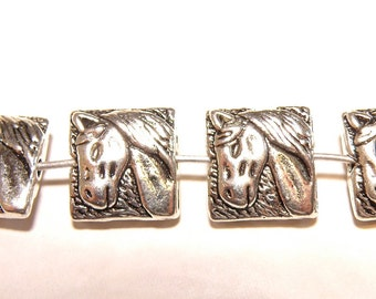 Six (6) Square Pewter Horse Head Pillow-Shaped Spacer Beads