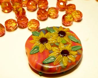Necklace Kit - Czech Fire Polished Orange/Yellow Glass Beads with Lampwork Sunflowers Focal Bead
