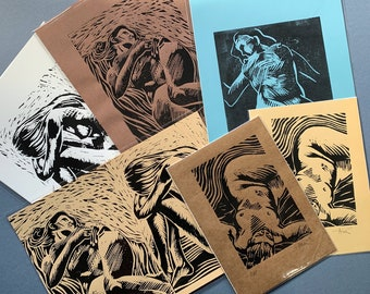 Lino print – Life Drawings (one-offs / artist proofs)