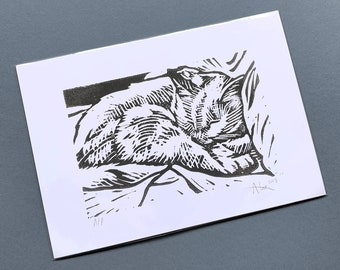 A5 Sleeping Kitty LINO PRINT (Artist's Proof – 4 available)