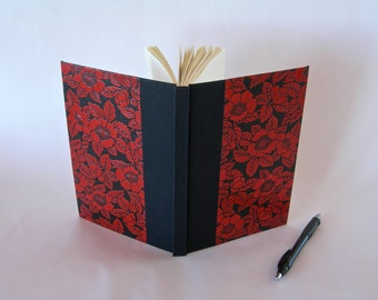 Address book large - black and red camillia lacquered yuzen  chiyogami paper - Peregrine Arts Bindery - 6x8.5 in 15x22cm -  - Ready to ship