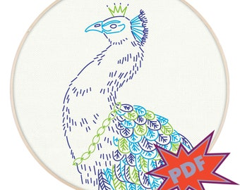 ROYAL PEACOCK PDF embroidery pattern - bird embroidery design - PopLush Embroidery