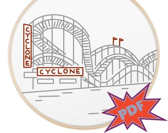 Cyclone Coney Island NYC embroidery pattern - travel east coast embroidery design - PopLush Embroidery