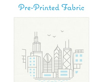 CHICAGO SKYLINE pre-printed fabric for embroidery, travel souvenir, chicago embroidery, modern embroidery pattern by StudioMME