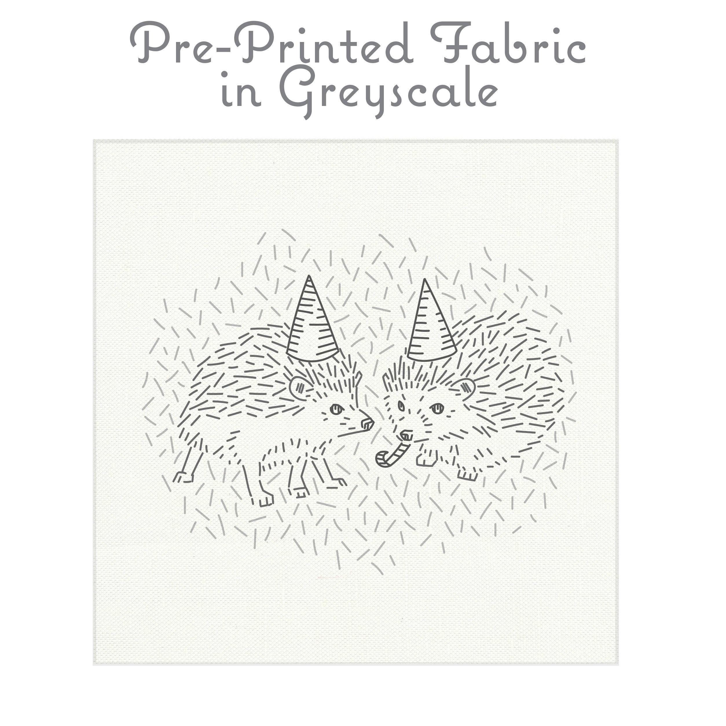 Tissu de broderie de hérisson gris, gris, hérisson motif de broderie, broderie motif de hérisson, broderie moderne par StudioMME a53edc