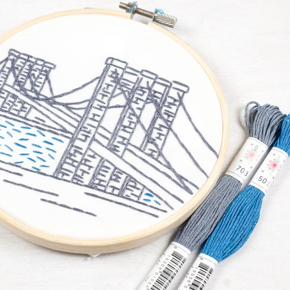 New York City Embroidery Kit Brooklyn Bridge By Studio Mme Etsy