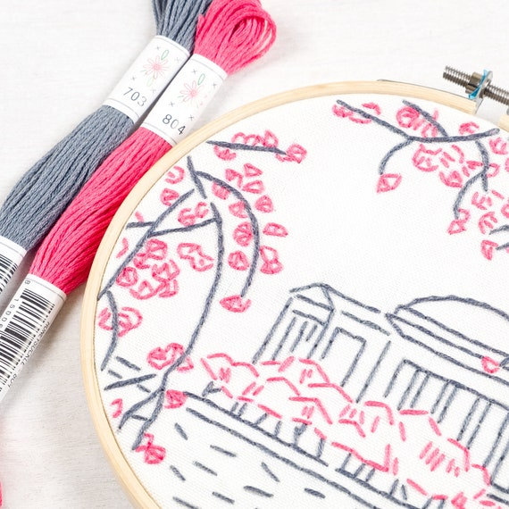 Washington Dc Embroidery Kit Cherry Blossoms By Studiomme Etsy