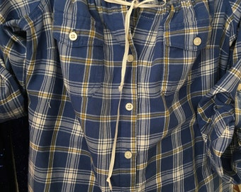 SOLD:  Gypsy Blue Plaid Peasant Top Tunic Shirt Bohemian Vintage