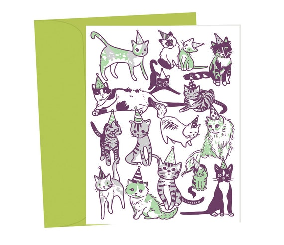party cats in party hats blank birthday card 1 pc etsy
