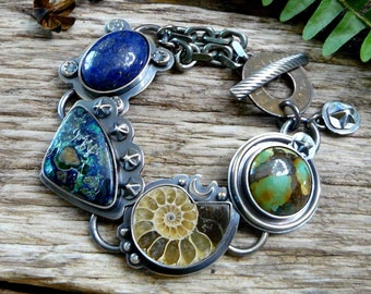 Stardust - Turquoise, Ammonite, Chrysocolla Azurite, Lapis, industrial, gemstone, artisan, cottage, moon, star, bohemian, boho, fossil, ooak