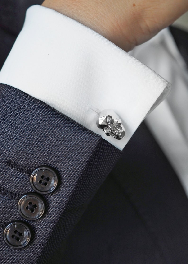 silver accessories 3d printed unisex gifts wedding gift Dapper Style Faceted Skull Rhodium Plated Brass Cufflinks