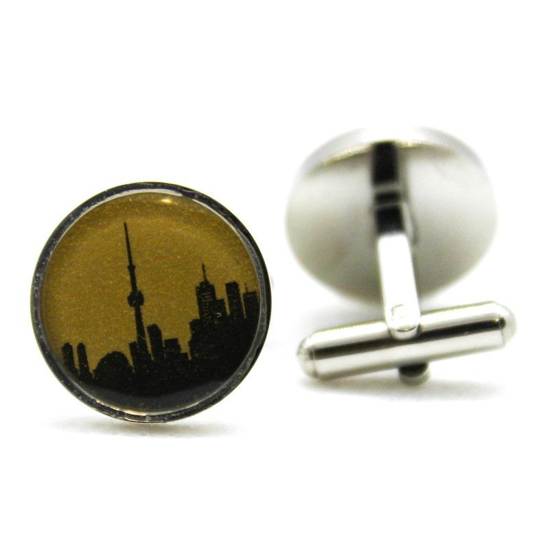 Twilight Gold Toronto Skyline Cufflinks canada cuff links personalized gift mens fashion jewelry accessories anniversary travel everyday