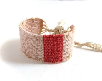 Pink and coral red handwoven linen cotton bracelet / textile bracelet / cuff bracelet / loom woven bracelet / fiber jewelry