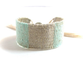 Mint green and natural linen handwoven bracelet / textile bracelet / cuff bracelet / linen cotton bracelet / textile jewelry