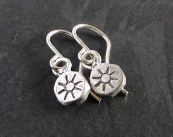 7026598e7 Tiny sterling silver primitive sun earrings / small earrings / dangle  earrings / simple earrings / casual earrings / artisan jewelry