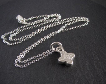 Small sterling silver medieval quatrefoil pendant necklace / silver cross pendant / rustic / artisan jewelry