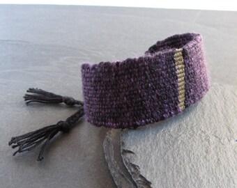 Handwoven linen cotton silk bracelet / textile bracelet / cuff bracelet / loom woven bracelet / fiber jewelry / purple black gold bronze