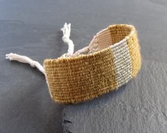 Handwoven cotton silk bracelet / textile bracelet / cuff bracelet / loom woven bracelet / fiber jewelry / yellow gold bronze