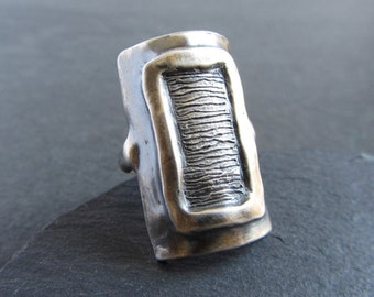Large sterling silver statement ring / armour ring / shield ring / oxidized / handmade artisan jewelry