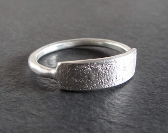 Simple rough textured sterling silver stackable ring