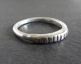 Rustic stackable ring in sterling silver / artisan ring / organic ring / ancient ring / rustic ring / ring band / feros ferio canada