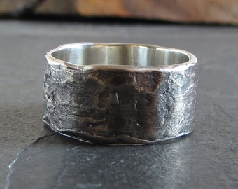 Rustic sterling silver band / rustic ring / oxidized silver ring / unique ring / statement ring / wedding ring / mens ring / unisex ring