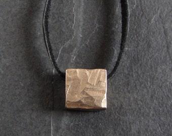 SALE - Small minimalist square bronze pendant necklace // rustic pendant / rough pendant / minimalist pendant / unique jewelry