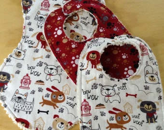 Flannel Burp Cloth, with Two Matching Bibs, Chenille Back,  Fun Dogs