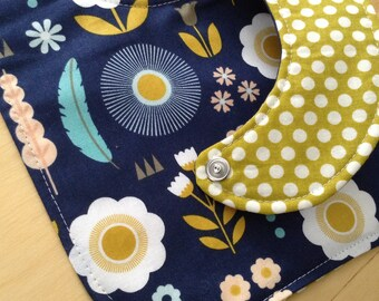 Reversible Baby Girl Bib, Triple Layer, Snap Closure, Modern Floral, Navy, Mustard, ready to ship