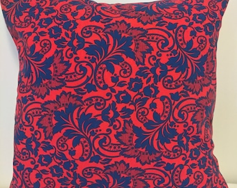 Navy Blue Floral on Red Background - 16 x 16 - Set of 2 Throw Pillows