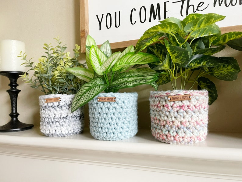 faux indoor plants  crocheted planter  pot sweater  hygge image 0