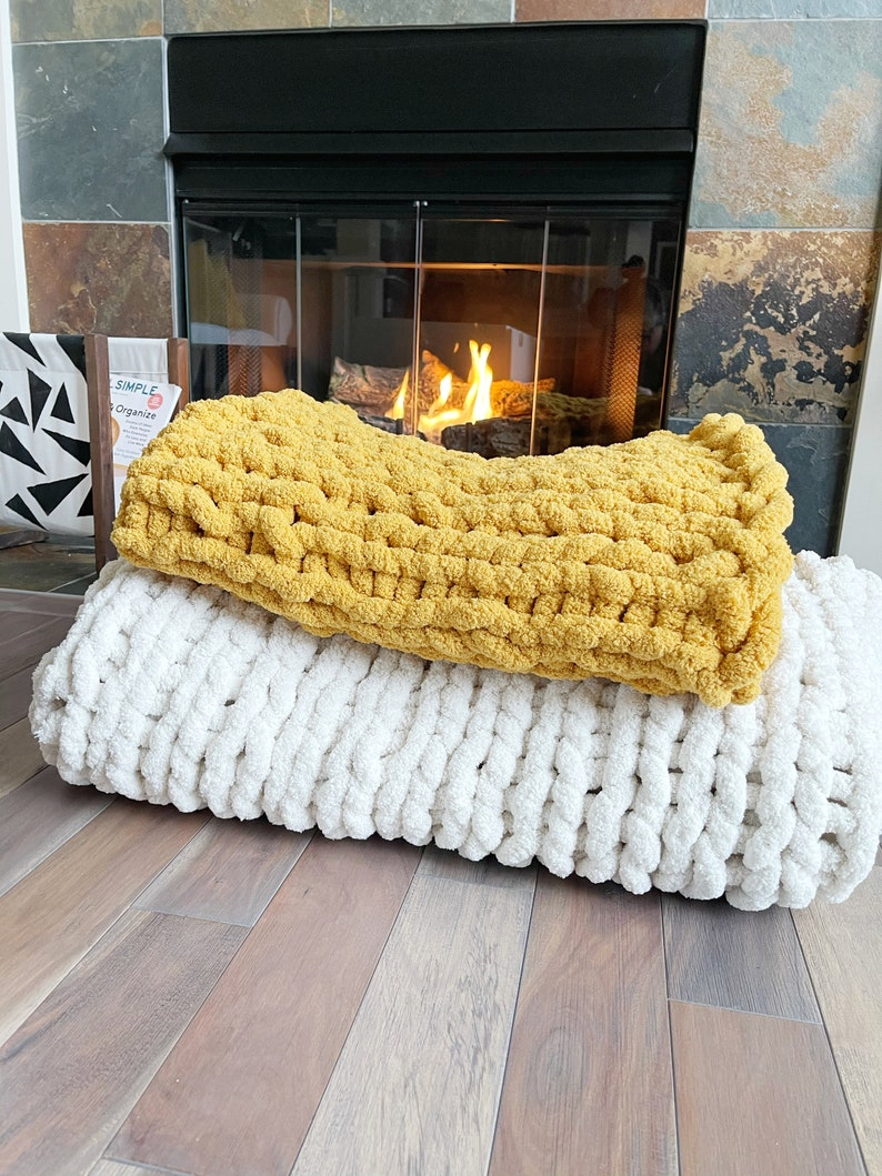 The LUXE Chunky Chenille Blanket  Hand Knit Throw  Hygge image 0