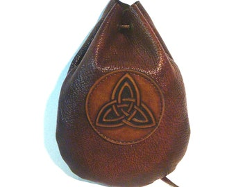 Taller Brown leather Triquetra runes coin dice pouch bag  Medieval Celtic