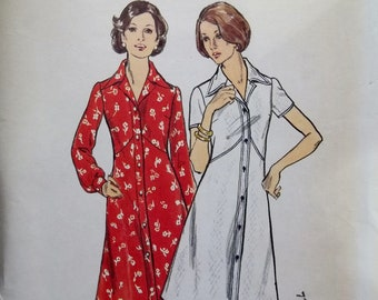 Vintage 70's Dress Butterick 3623 Sewing Pattern Button Front, Flared Dress, Notched Collar, Short or Full Sleeves Size 40 -42 Bust 46 - 48